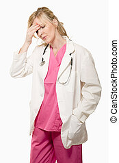 Lady doctor with headache