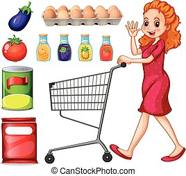 Lady doing grocery shopping illustration