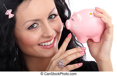 Lady doll with pig money-box