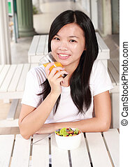 lady eating healthy food