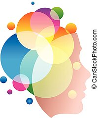 Lady face with colofrul circles, abstract, shampoo vector logo template