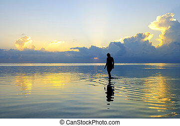 Lady Figure - Picture of a lady figure with sunset...