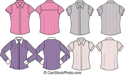 lady formal stripe shirts
