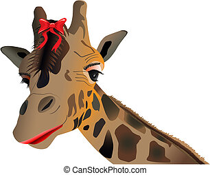 lady giraffe - vector lady giraffe with make up and bow