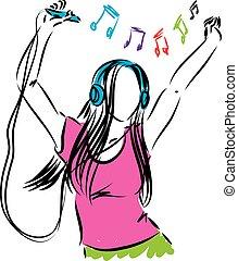 lady girl listening music illustration