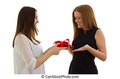 Lady giving a gift