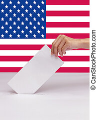 Lady hand putting a voting ballot in slot of white box isolate and flag of USA
