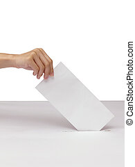 Lady hand putting a voting ballot in slot of white box isolated on white