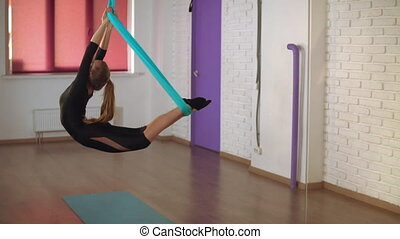 lady has individual class in the studio - girl does fly...