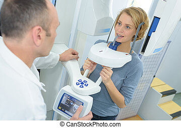Lady having dental xray