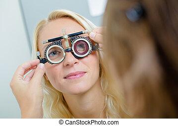 lady having eye examination