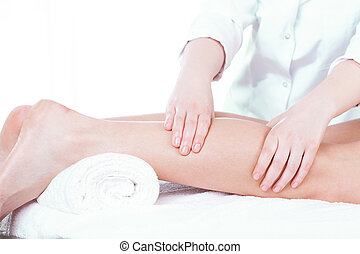 Lady having leg massage
