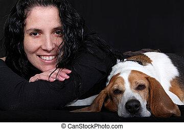 Lady & Her Dog (Beagle)
