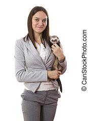 Lady holding a ferret. White isolated background