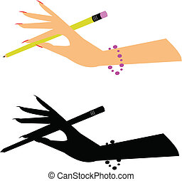 ladies hand holding a pencil in two styles including silhouette