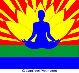 Lady in a lotus position, with the colours around here, sitting in peace.