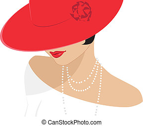 Lady in a red hat - Vector illustration of a retro style...