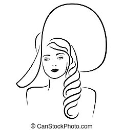 Lady in big hat portrait outline
