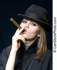 lady in black and a cigar