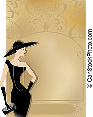 Lady in black with retro or art noveu poster background