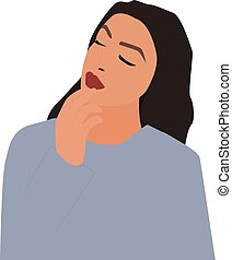 Lady in blue, illustration, vector on white background.