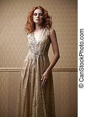 lady in golden dress