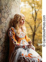 Lady in medieval costume