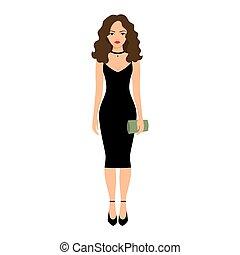 Lady in night black dress