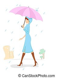 lady in rainy day