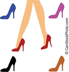 lady in red - ladies legs in red heels walking over white...