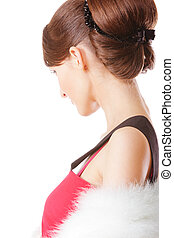 Lady in red dress sideview