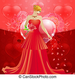 Lady in red dress with hearts