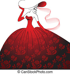 Lady in red evening dress - Lady in hat, gloves and a long...