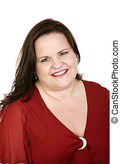 Lady in Red - Portrait of a beautiful plus-sized model in a...