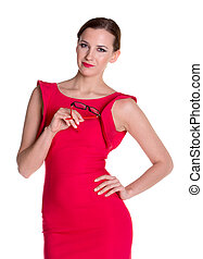 Lady in red with glasses - Beautiful woman in red dress with...