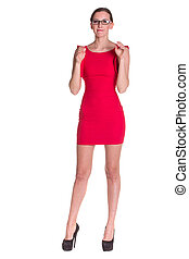 Lady in red with glasses - Lady in red posing with glasses, ...