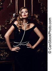lady in velvet dress - Beautiful elegant woman in black...