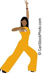 Lady in yellow, illustration, vector on white background.
