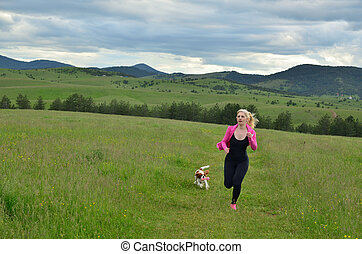 Lady Jogging with Her Dog