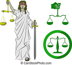 Lady justice, and two sets of scales.