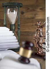 Lady justice gavel books gold scale