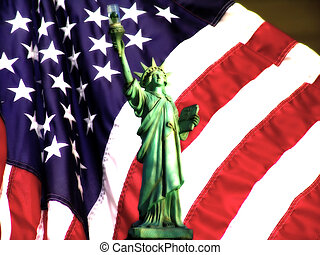 Lady Justice - Statue Liberty and American Flag With Blur...