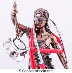 Lady Justice and a red stethoscope