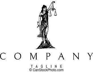 Lady Justice Statue Black vector logo 2 design