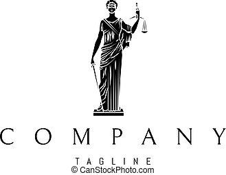 Lady Justice Statue Black vector logo 3 design
