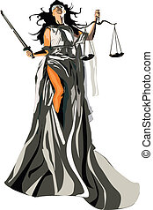 Vector graphic illustration of lady justice for the designers
