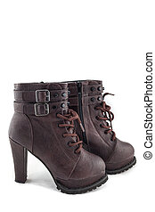 lady leather boot bown with shoelace on white background