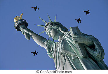 Lady liberty with Jets overhead.