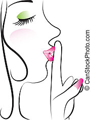 Lady making silence sign vector design