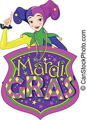 Lady & Mardi Gras Sign